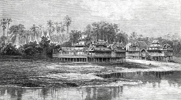 buddhist stilt houses, amarapura - burma home do stock illustrations