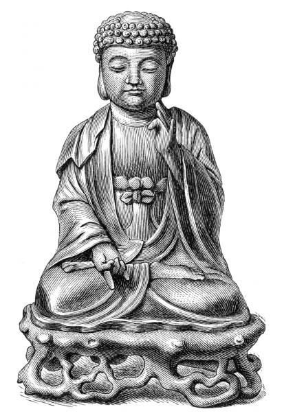 budha statue engraving 1895 - buddha stock illustrations, clip art, cartoons, & icons