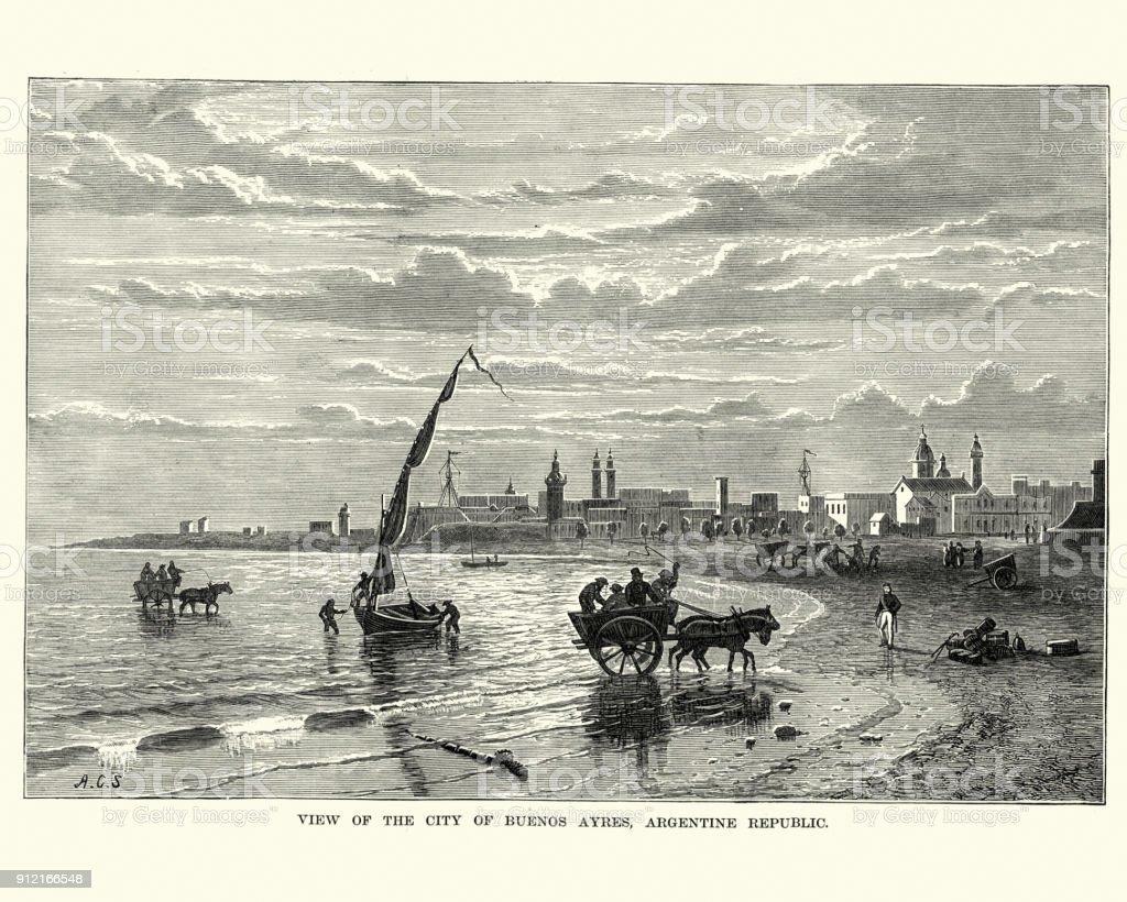 Buenos Aires, Argentina, 19th Century vector art illustration
