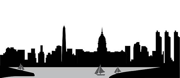 buenos aires skyline vector art illustration