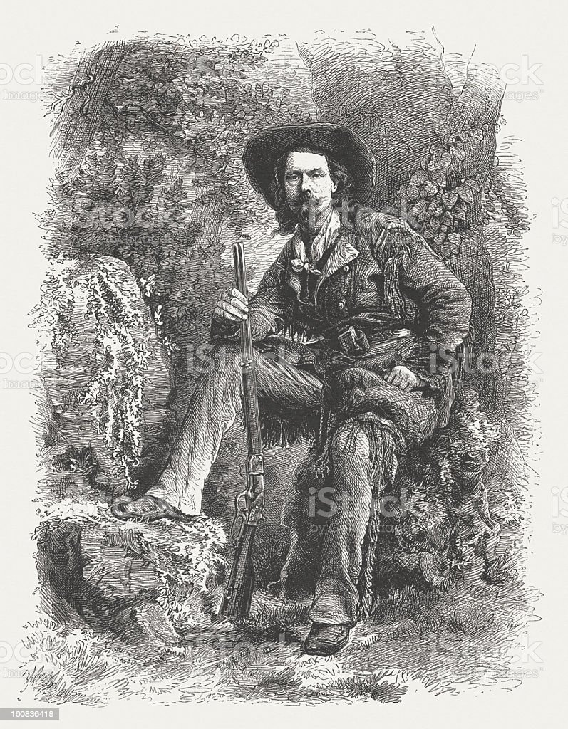 Buffalo Bill (1846-1917) American showman, wood engraving, published in 1877 vector art illustration