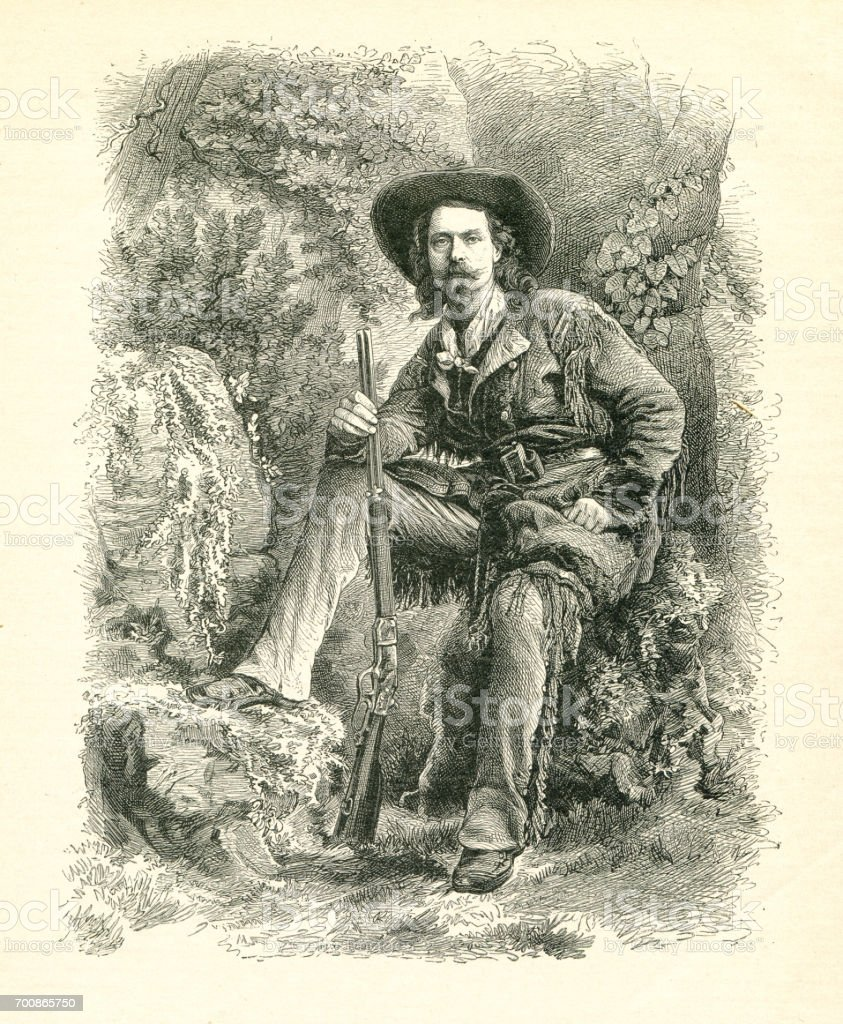 Buffalo Bill sitting with rifle in forest wild west 1877 vector art illustration
