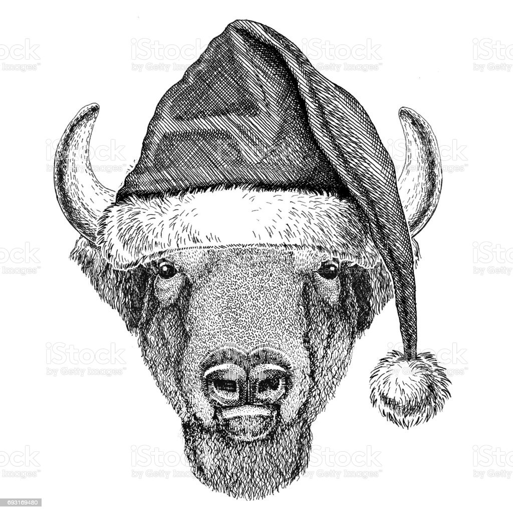 Buffalo Bisonox Bull Wearing Christmas Hat New Year Eve Merry ...