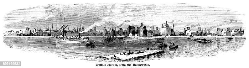 Buffalo Harbor seen from the breakwater which was constructed to protect the city from Lake's Erie's waves.