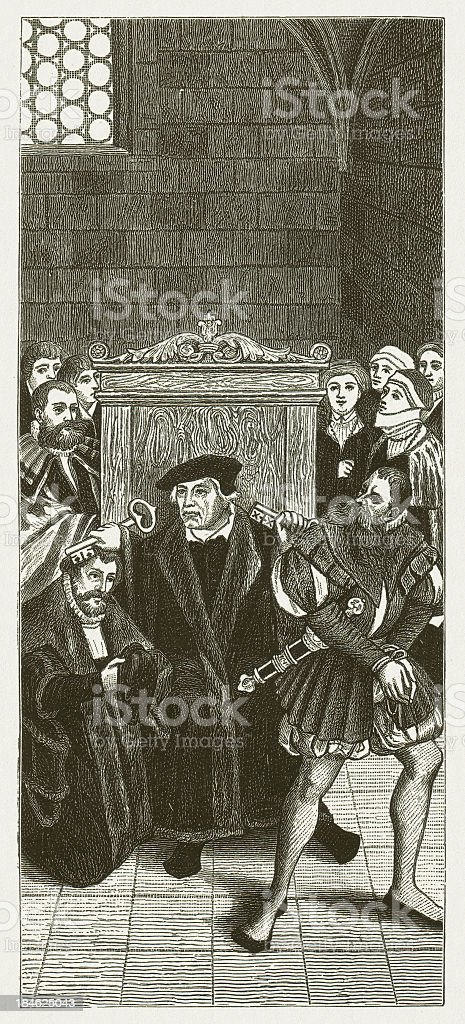 Bugenhagen at confession royalty-free stock vector art