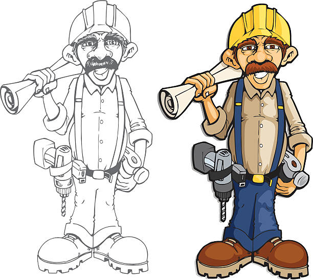 builder jim - old man shoes stock illustrations, clip art, cartoons, & icons