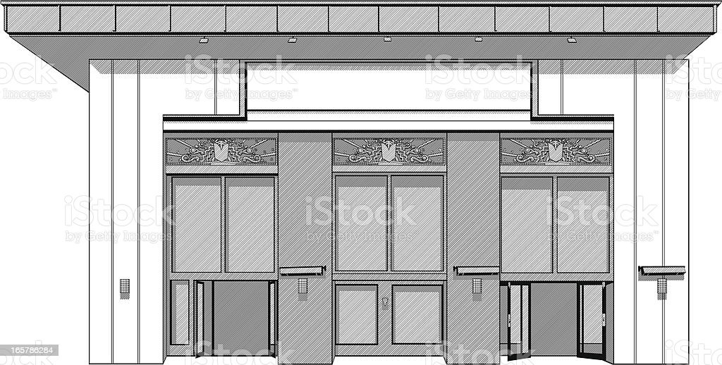 Building entrance illustration royalty-free stock vector art