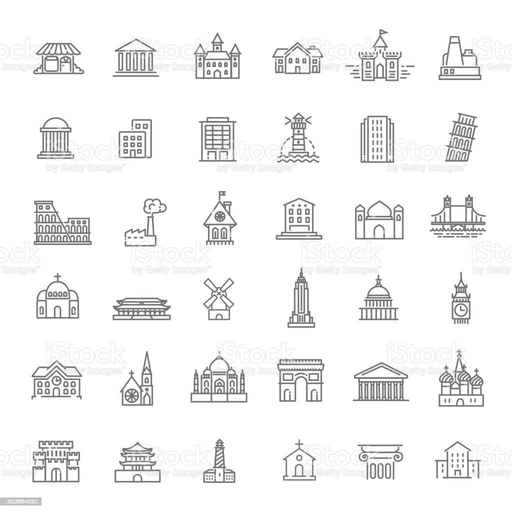 Building Icons set, Government. Landmarks vector art illustration