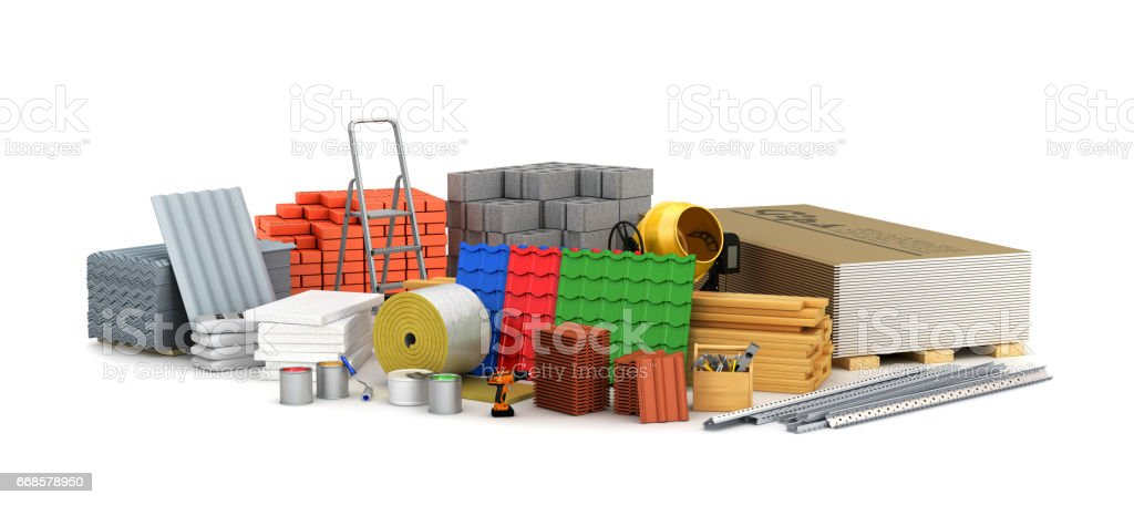building materials. 3D illustration vector art illustration