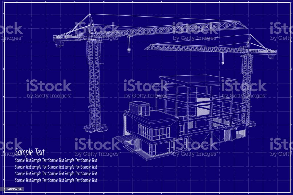 3d building on blueprint stock vector art more images of architect 3d building on blueprint royalty free 3d building on blueprint stock vector art amp malvernweather Gallery