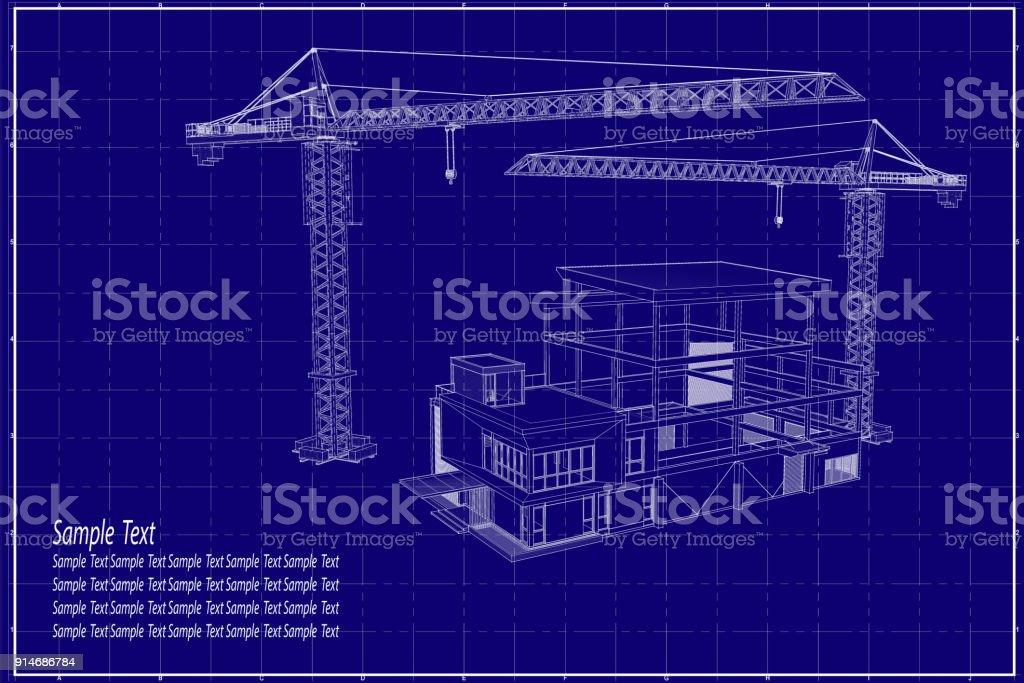 3d building on blueprint stock vector art more images of architect 3d building on blueprint royalty free 3d building on blueprint stock vector art amp malvernweather Choice Image