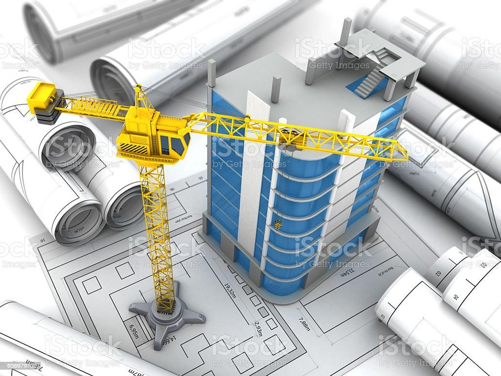 building project vector art illustration