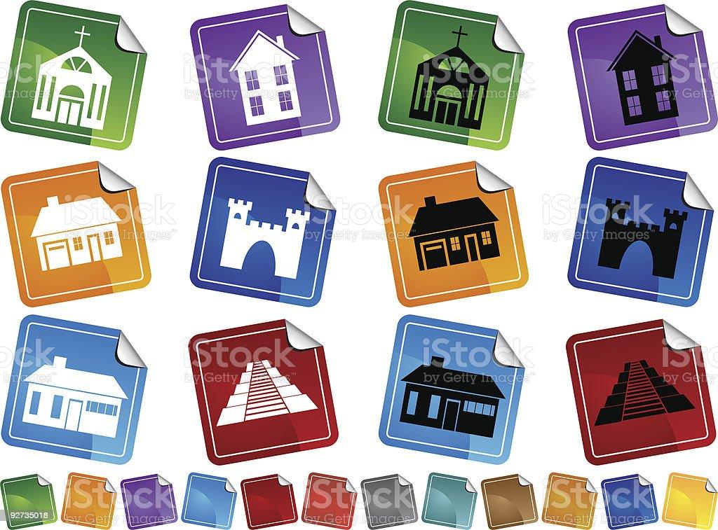 Gebäude-Aufkleber Lizenzfreies gebäudeaufkleber stock vektor art und mehr bilder von außenaufnahme von gebäuden