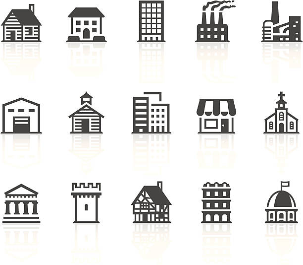 buildings icons - log cabin stock illustrations, clip art, cartoons, & icons