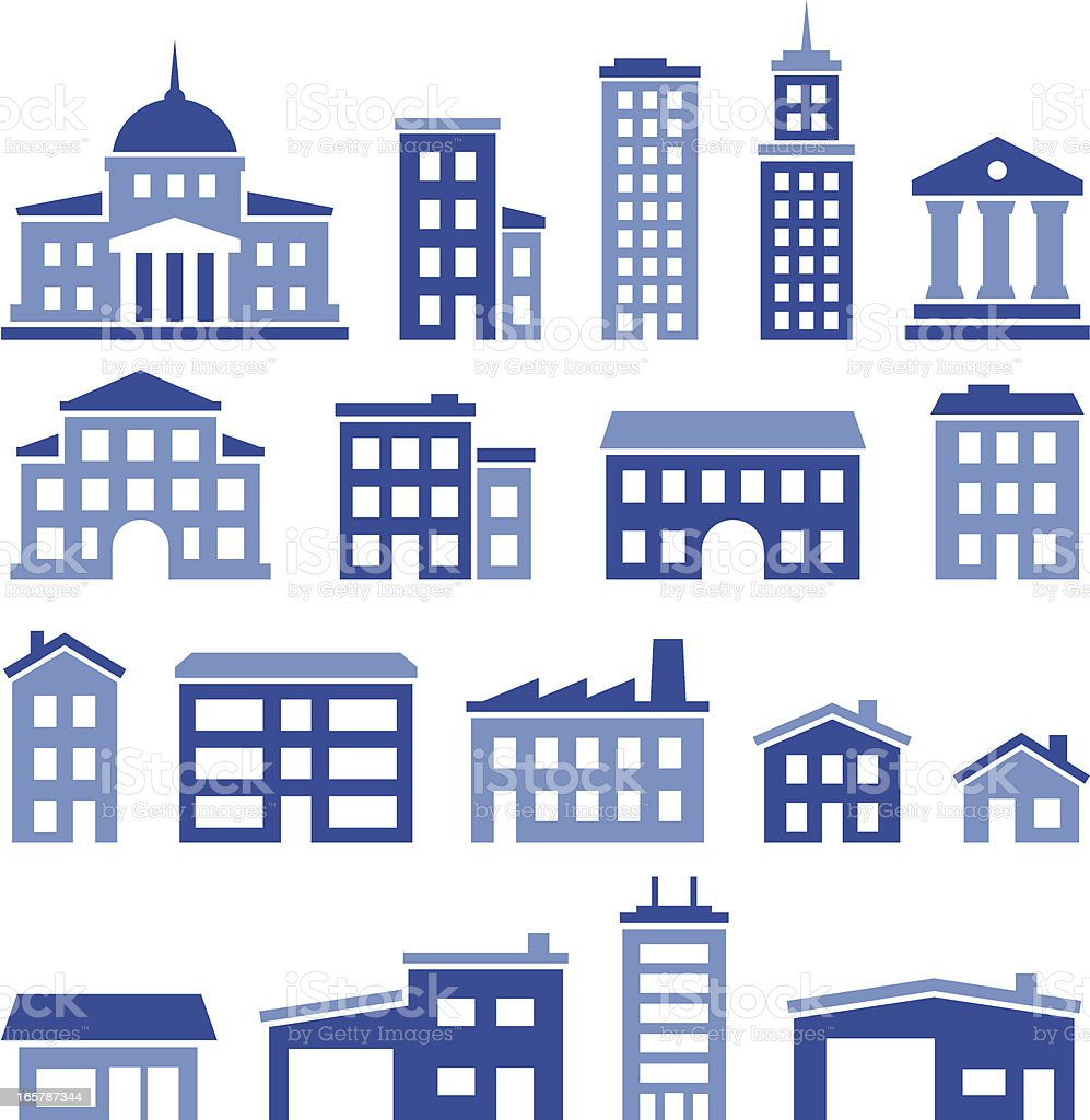 Buildings Icons - Pro Series royalty-free stock vector art