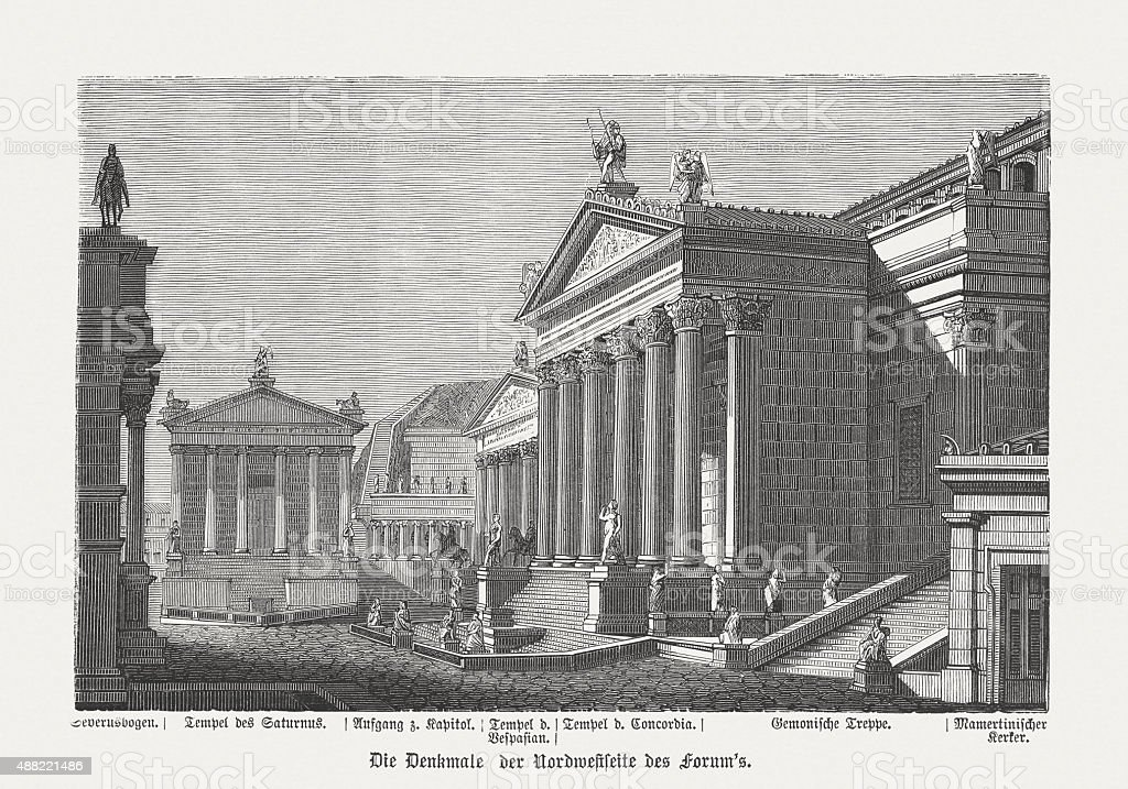 Buildings of the Roman Forum in ancient Rome, published in 1878 vector art illustration