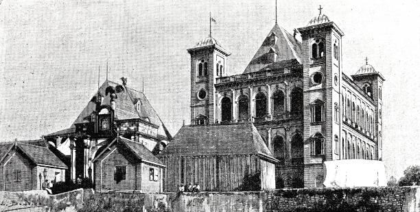 Buildings on Madagascar, Tananarive Illustration from 19th century art deco district miami stock illustrations