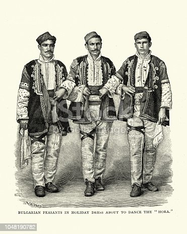 Vintage engraving of Bulgarian peasants in holiday dress about to dance the Hora, 19th Century