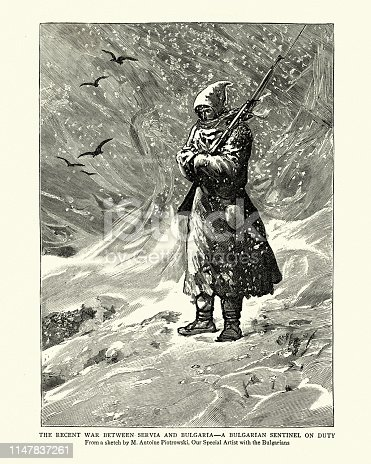 Vintage engraving of a scene from the Serbo-Bulgarian War, Bulgarian soldier standing guard in a snow storm, 19th Century