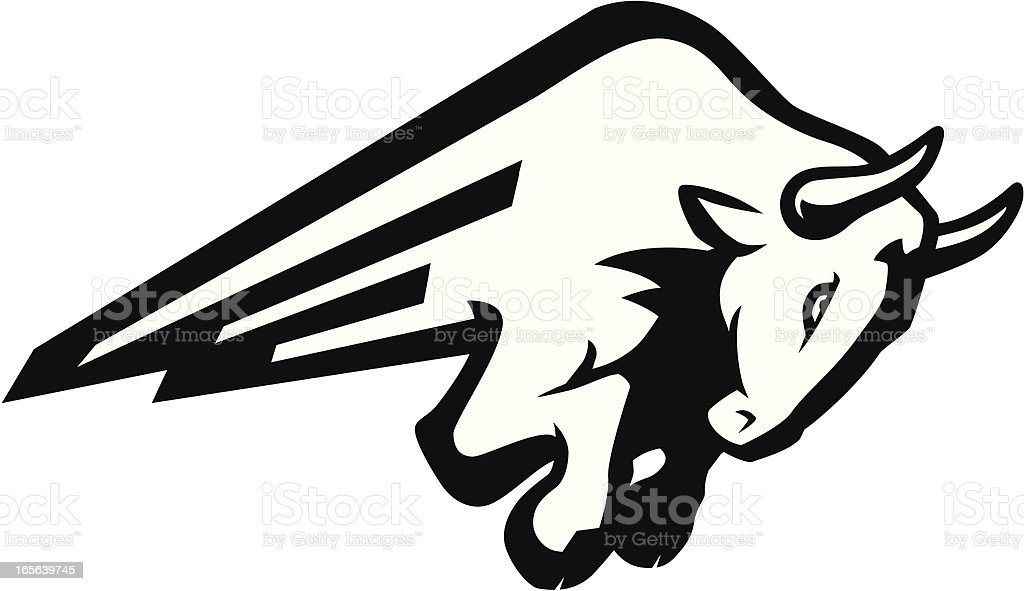 Bull Charge B&W vector art illustration
