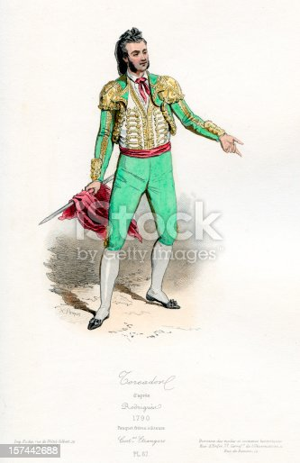 Vintage coloured engraving from 1875 showing the costume of a Bull Fighter Matador  in the 18th century