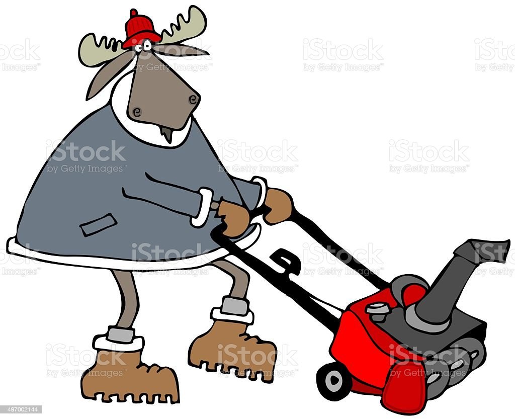 Bull moose using a snowblower vector art illustration