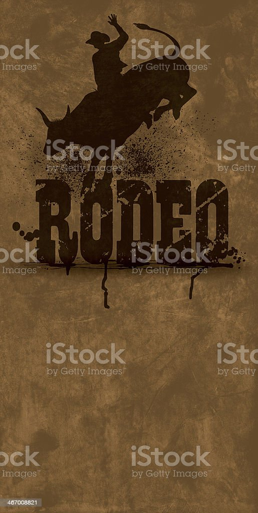 Bull Rider - Rodeo Cowboy Grunge Background vector art illustration