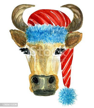 istock Bull with Santa Claus hat, christmas watercolor illustration 1265615336