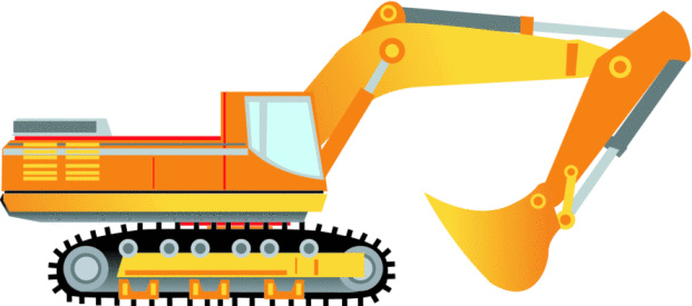 Bulldozer Yellow And Orange Stock Illustration - Download Image Now