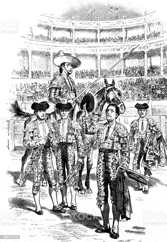 Bullfight in spain, presentation of the Toreros - Royalty-free 1890-1899 stock illustration
