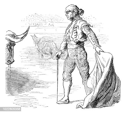 Engraving bullfighter about killing the bull in bullring Spain Original edition from my own archives Source : Illustriertes Konversations Lexikon 1878 now in public domain