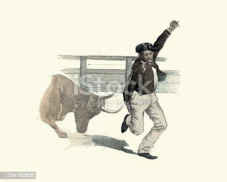 Vintage illustration of a Bullfighter avoiding a charging bull, Victorian 19th Century