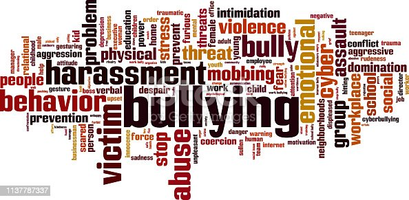 Bullying word cloud concept. Collage made of words about bullying. Illustration
