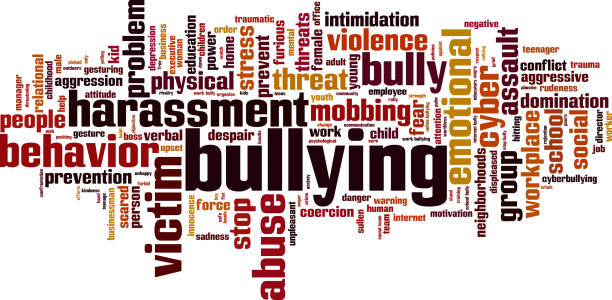 Bullying word cloud Bullying word cloud concept. Collage made of words about bullying. Illustration place of work stock illustrations
