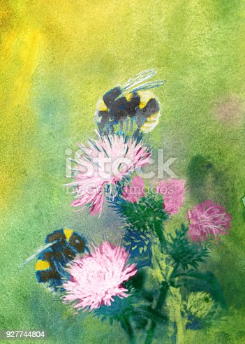 bumblebees on flowers watercolor