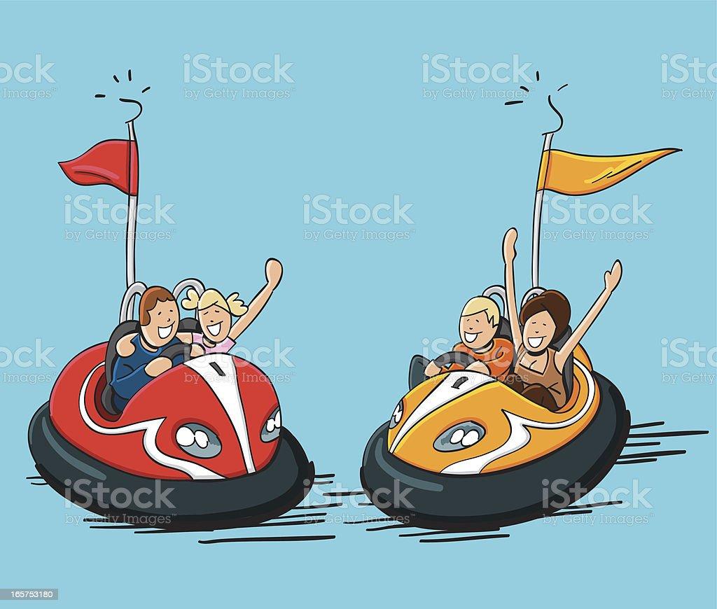 Autos de choques feliz personas - ilustración de arte vectorial