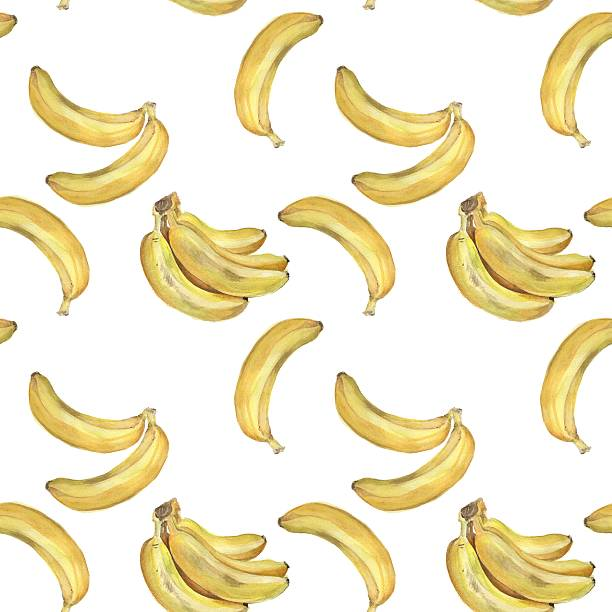 Bunch of bananas. Seamless pattern. Watercolor Background 2 vector art illustration
