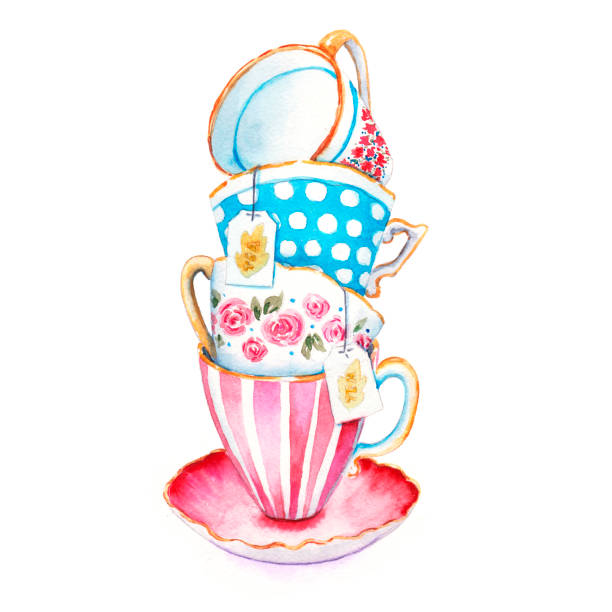 bunch of tea cups in the on a saucer. watercolor painting - stacked tea cups stock illustrations, clip art, cartoons, & icons