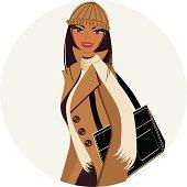 Dark-skinned/tanned girl bundled up ready for some winter shopping.