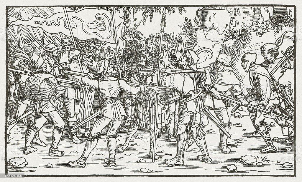 Bundschuh movement (1493-1517), wood engraving, published in 1881 vector art illustration