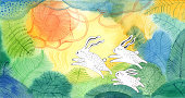 istock Bunnies on watercolour background 608489982