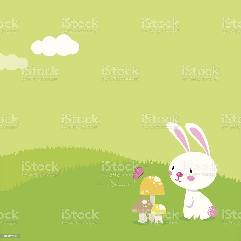 Bunny & Butterfly vector art illustration