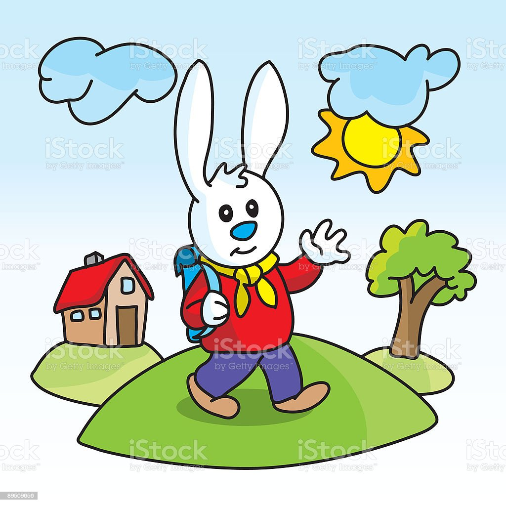 Bunny goes to school royalty-free bunny goes to school stock vector art & more images of animal