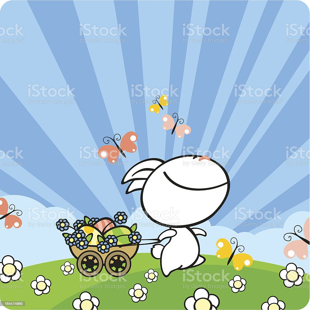 Bunny on a meadow royalty-free stock vector art