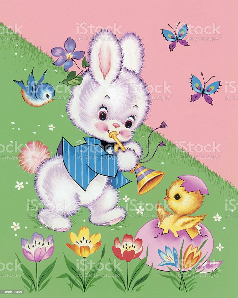 Bunny Playing a Horn royalty-free bunny playing a horn stock vector art & more images of animal