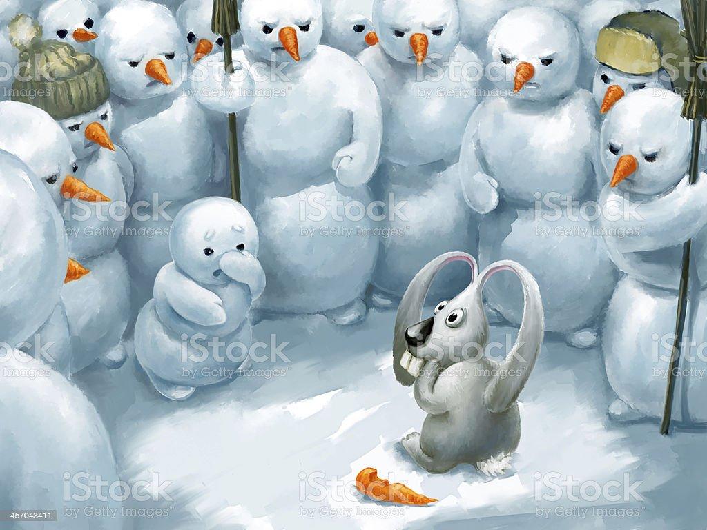 Bunny thief vector art illustration
