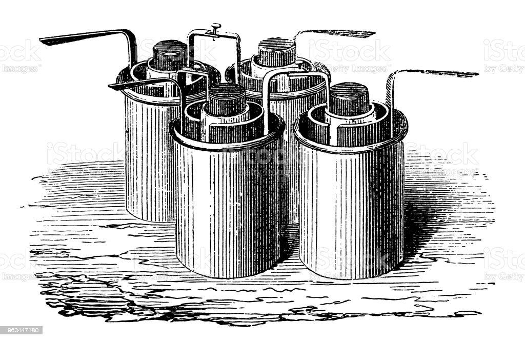 Bunsen pil birlikte galvanik pil yapma gruplandırma - Royalty-free 19. yüzyıl tarzı Stock Illustration