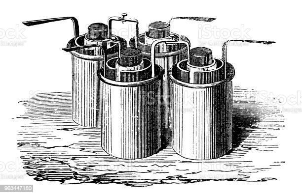 Bunsen Pil Birlikte Galvanik Pil Yapma Gruplandırma Stok Vektör Sanatı & 19. yüzyıl tarzı'nin Daha Fazla Görseli