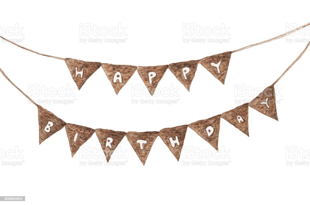 Bunting For Happy Birthday Watercolor Drawing Isolated On White