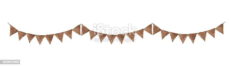 Bunting pastel brown flags, watercolor drawing isolated on white background.